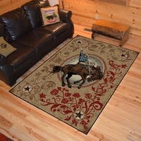 "Western Rodeo Ornamental Bucking Horse Multi Area Rug - 5'3"" x 7'3"""
