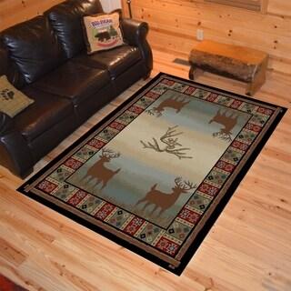 Rustic Lodge Deer Field Multi Area Rug (5'3 x 7'3)
