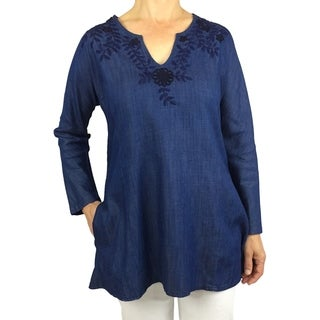 Denim tunic with navy floral hand-embroidery