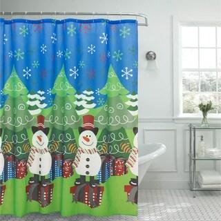 Christmas Tree & Snowman Shower Curtain