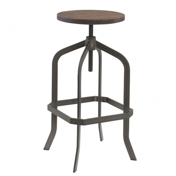 Best Quality Furniture Adjustable Rustic Swivel Bar Stool with Wooden Seat