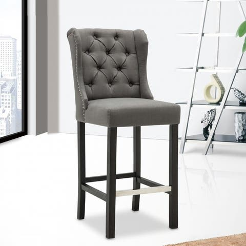 Best Quality Furniture Grey Linen Button Tufted Bar Stool (Set of 2)