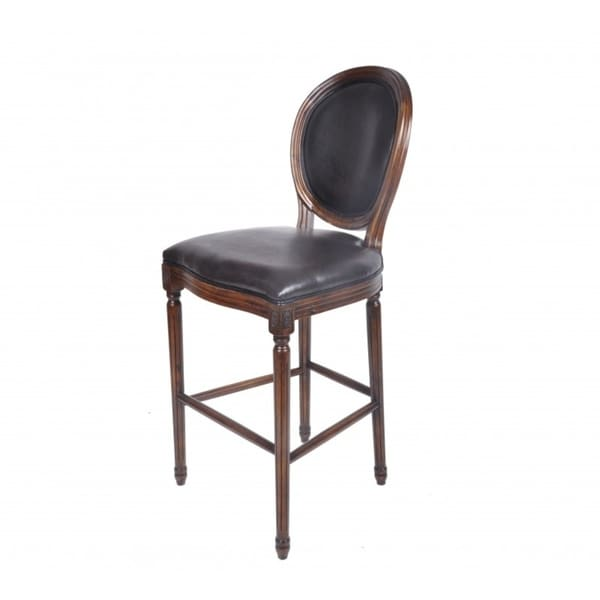 Best Quality Furniture Cherry Wood Barstool with Faux Leather Upholstery
