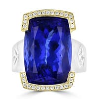 La Vita Vital 14K Two-tone gold Tanzanite 21.20ct & Diamond 0.45ct Ring - Blue