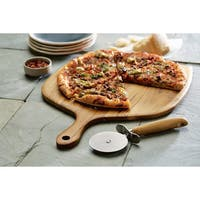 Anolon(r) Pantryware Teakwood Pizza Peel and Pizza Cutter Set, 2-Piece