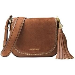 Michael Kors Brooklyn Medium Leather Saddlebag - Brick Red - 30F6ABNM2S-616