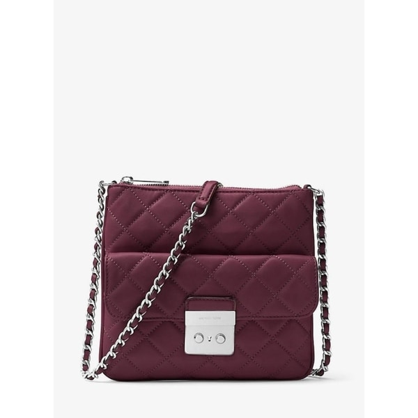 f26e48837d75 Shop Michael Kors Sloan Medium Quilted-Leather Crossbody Bag - Plum -  30F6ASLM2L-633 - Free Shipping Today - Overstock - 17760450