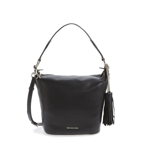 079169ec75c5 Shop Michael Kors Medium Elana Convertible Leather Shoulder Bag - Black -  30T6SE3L2L-001 - Free Shipping Today - Overstock - 17760459