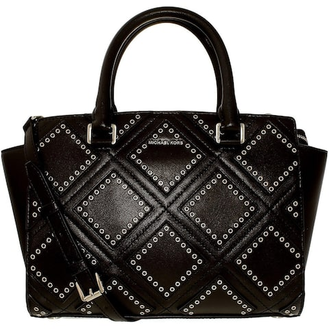 fe5230dbd2c1ec Michael Kors Selma Medium Diamond Grommet Leather Satchel - Black -  30F6ADXS2L-001