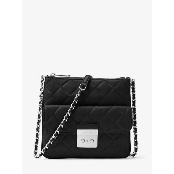 5d73a77b089f Shop Michael Kors Sloan Medium Quilted-Leather Crossbody Bag - Black -  30F6ASLM2L-001 - Free Shipping Today - Overstock - 17760482