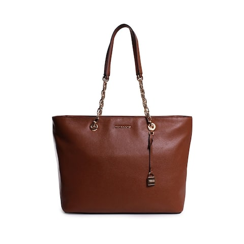 b6b82e353fc075 Michael Kors Mercer Medium Chain-link Leather Tote - Brown - 30H6GM9T9L-230
