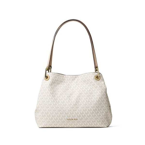 41250280c4b5 Shop Michael Kors Raven Signature Large Shoulder Tote - Vanilla -  30H6GRXE3V-150 - Free Shipping Today - Overstock - 17760498