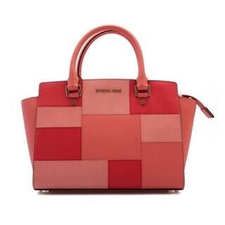 Michael Kors Selma Medium Top Zip Satchel Leather - Colorblock Pink Grapefruit - 30S6GLMS2U-665