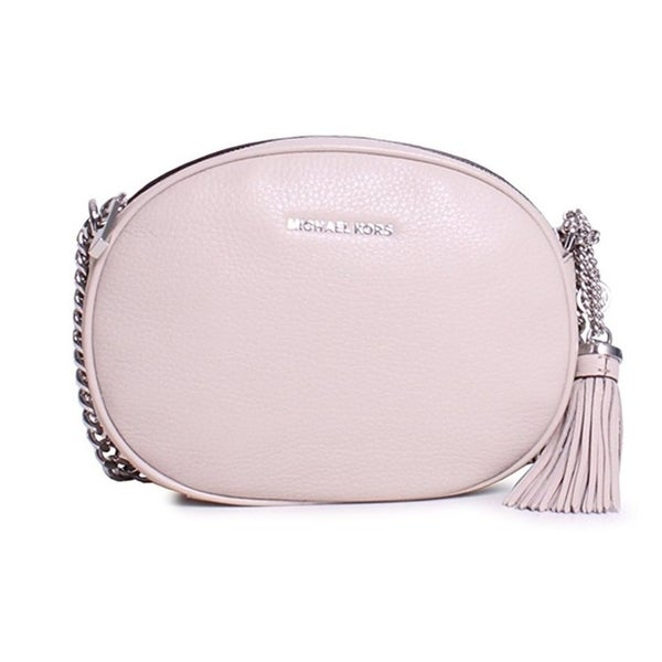 8775d168ba45 Shop Michael Kors Ginny Medium Leather Crossbody Bag - Pearl Grey -  30H6SGNM2L-513 - Free Shipping Today - Overstock - 17760524