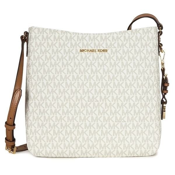 0988249e2961 Shop Michael Kors Jet Set Travel Large Logo Messenger - Vanilla -  30H6GTVM3V-150 - Free Shipping Today - Overstock - 17760530