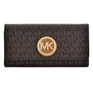 a392d37c4881 Shop Michael Kors PVC Leather Fulton Flap Continental Wallet - Brown -  32S7GFTE3B-200 - Free Shipping Today - Overstock - 17760534