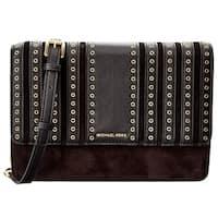 557813282da5 Michael Kors Brooklyn Grommet Large Leather Crossbody Bag - Black -  32F6ABHC3S-001