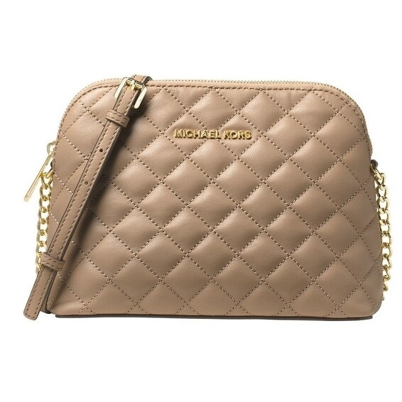 6ce031f007d3 Shop Michael Kors Cindy Large Dome Crossbody Quilted Costa Lamb 18K -  Bisque - 32T6GCPC7L-097 - Free Shipping Today - Overstock - 17760599