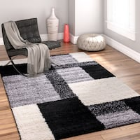 Well Woven Modern Geometric Squares Black Area Rug - 3'3 x 5'3