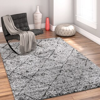 Well Woven Modern Moroccan Trellis Grey Area Rug - 3'3 x 5'3