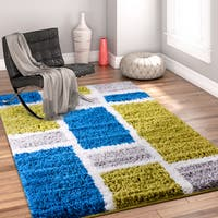 Well Woven Modern Geometric Shapes Green Blue Area Rug - 3'3 x 5'3