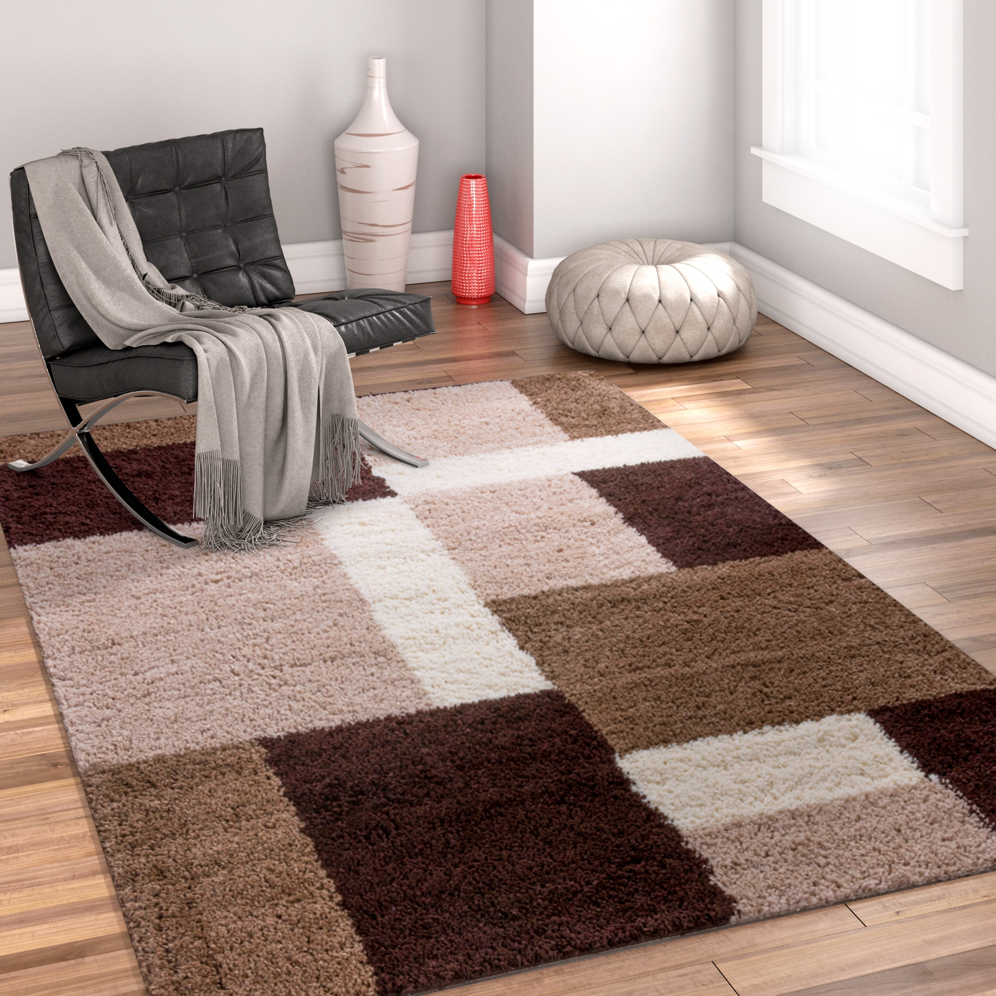 Well Woven Modern Geometric Squares Brown Area Rug - 67 x 910 (Brown)