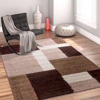 Well Woven Modern Geometric Squares Brown Area Rug - 6'7 x 9'10