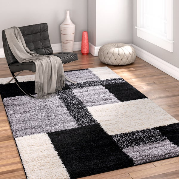 "Well Woven Modern Geometric Squares Black Area Rug - 6'7"" x 9'10"""