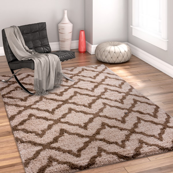 "Well Woven Brown Shag Trellis Area Rug - 6'7"" x 9'10"""