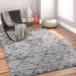 Well Woven Modern Moroccan Trellis Grey Area Rug (2' x 3')
