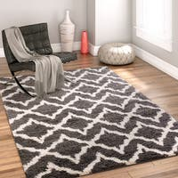 Well Woven Modern Trellis Geo Grey Gold Area Rug - 2' x 3'