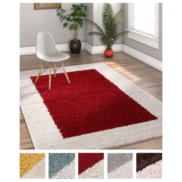 Well Woven Modern Solid Color Border Area Rug