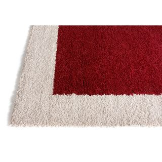 Well Woven Modern Solid Color Border Mat Accent Rug - 2 x 3 (Red - Red)