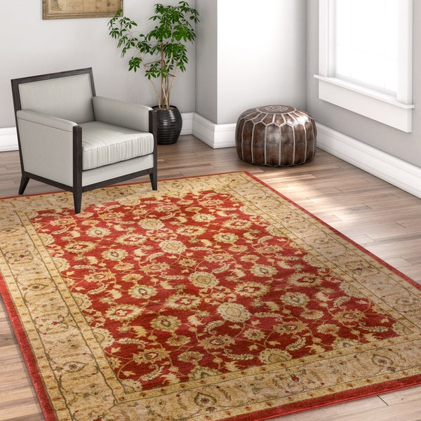 Well Woven Vienna Traditional Oriental Country Soft Eclectic Floral Terra Red Area Rug - 7'10 x 10'6