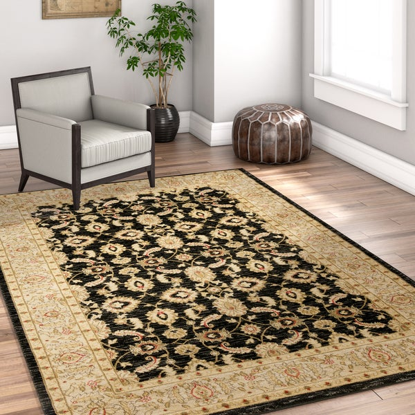 Well Woven Vienna Black Traditional Oriental Country Soft Eclectic Floral Area Rug - 7'10 x 10'6