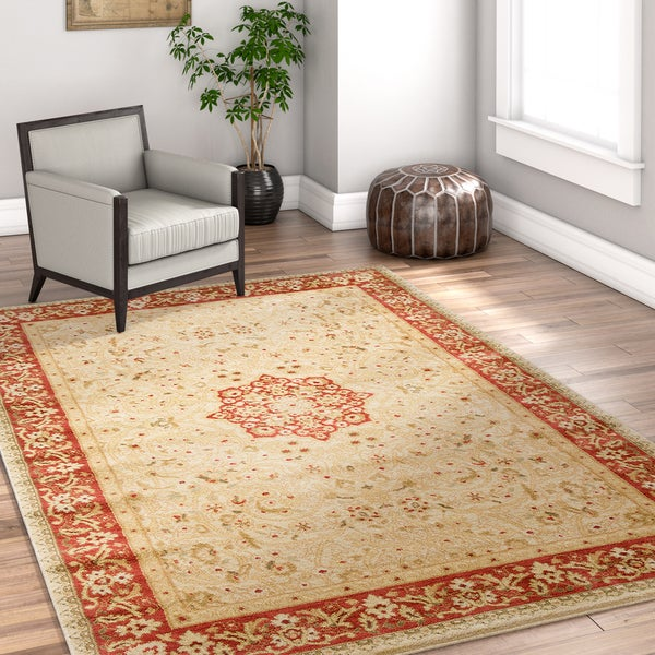 Well Woven Vienna Traditional Persian Oriental Antique Ivory Area Rug - 7'10 x 10'6