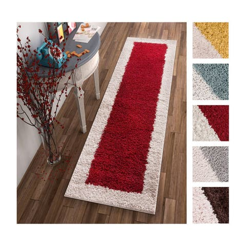 Well Woven Modern Solid Color Border Runner Rug - 2' x 7'3""