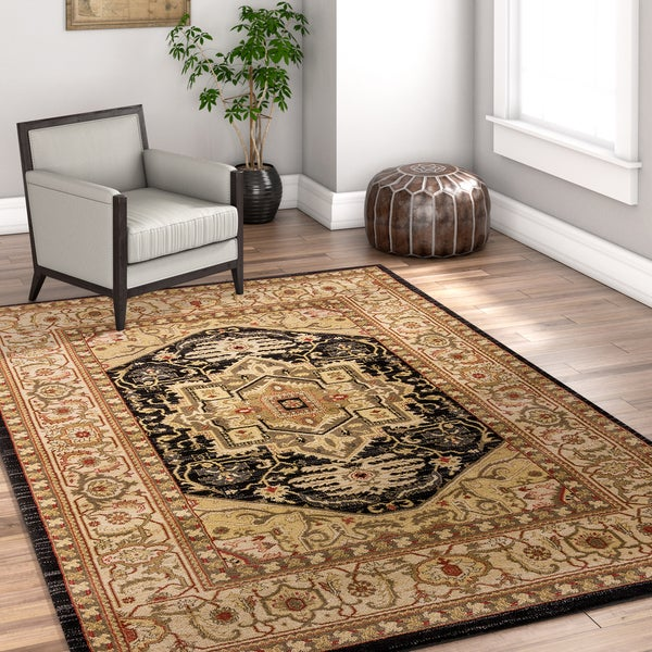 Well Woven Vienna Black Traditional Kazak Medallion Area Rug - 7'10 x 10'6