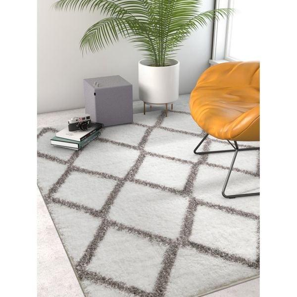 Well Woven Modern Shag Geometric Soft Trellis Lettice White Area Rug - 6'7 x 9'1
