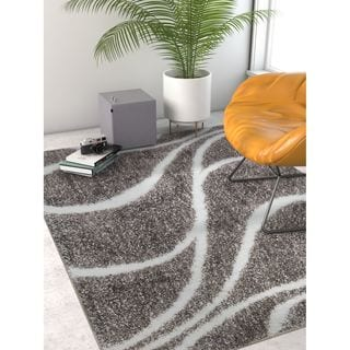 Well Woven Modern Shag Abstract Lines/Waves Grey Area Rug (6'7 x 9'3)