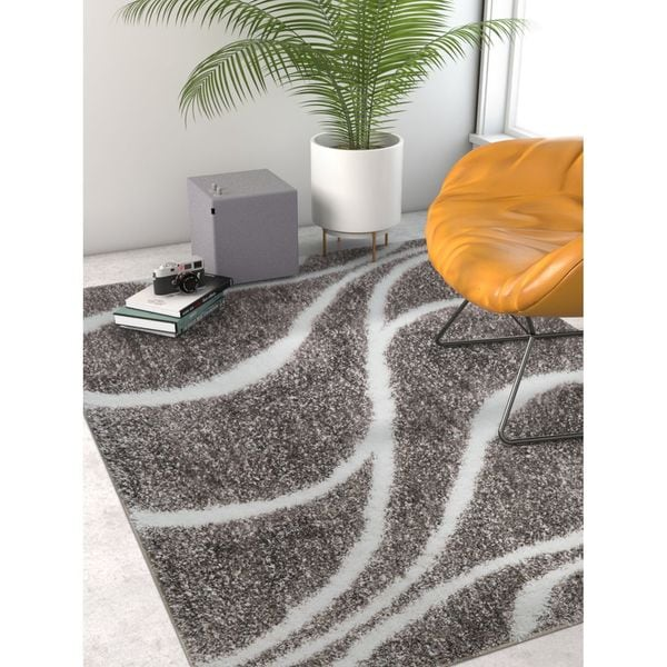 Well Woven Modern Shag Abstract Lines/Waves Grey Area Rug - 6'7 x 9'3