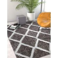 Well Woven Grey Geometric Thick Modern Shag Area Rug - 6'7 x 9'3