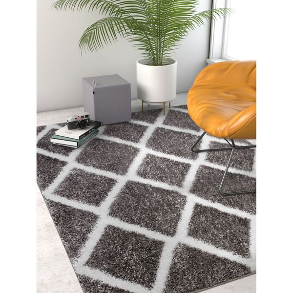 Well Woven Grey Geometric Thick Modern Shag Area Rug - 6'7 x 9'1
