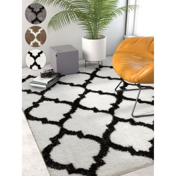 "Well Woven Grey Lattice Moroccan Area Rug - 6'7"" x 9'6"""