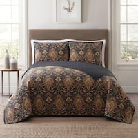 Style 212 Cambridge Damask 3-Piece Printed Quilt Sets