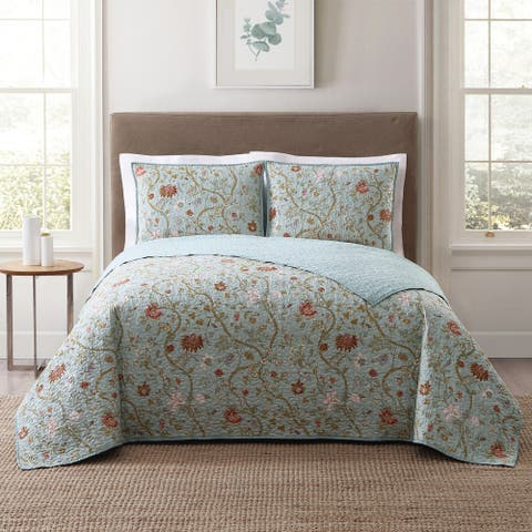 Style 212 Bedford Floral 3-Piece Printed Quilts Set