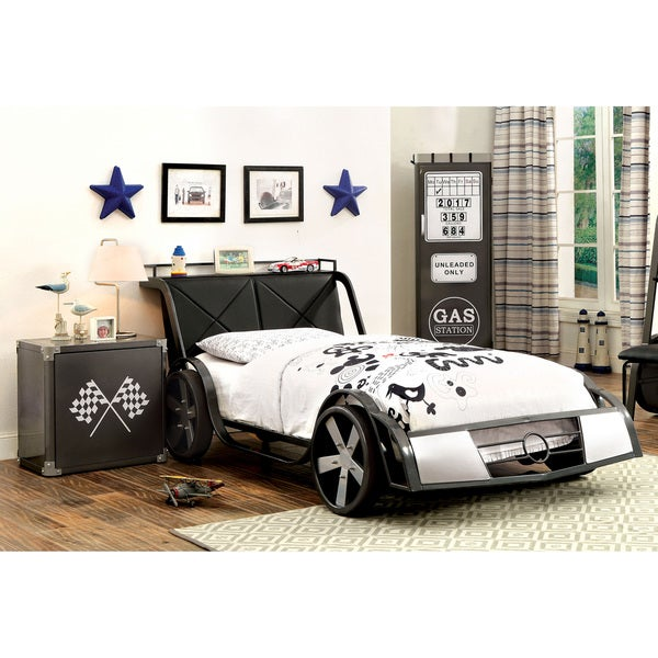 Furniture of America Born Racer 2-piece Gun Metal Youth Bed and Nightstand Set