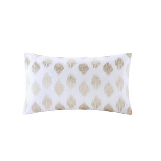 INK+IVY Stella Dot Copper Cotton Percale 12x20-inch Embroidered Oblong Throw Pillow