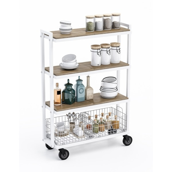 Urb SPACE 4 Tier Cart System With 6 Interchangeable Shelves, 2 Foldable/  Stackable