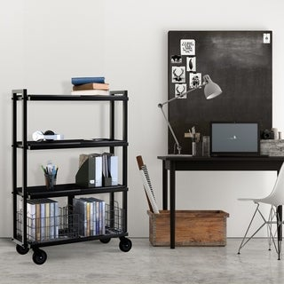 urb SPACE 4-tier Cart System with 6 Removable Black Shelves, and 2 Black Removable Baskets